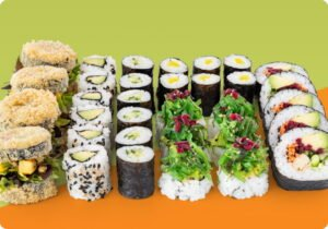 Colorful sushis on colorful background